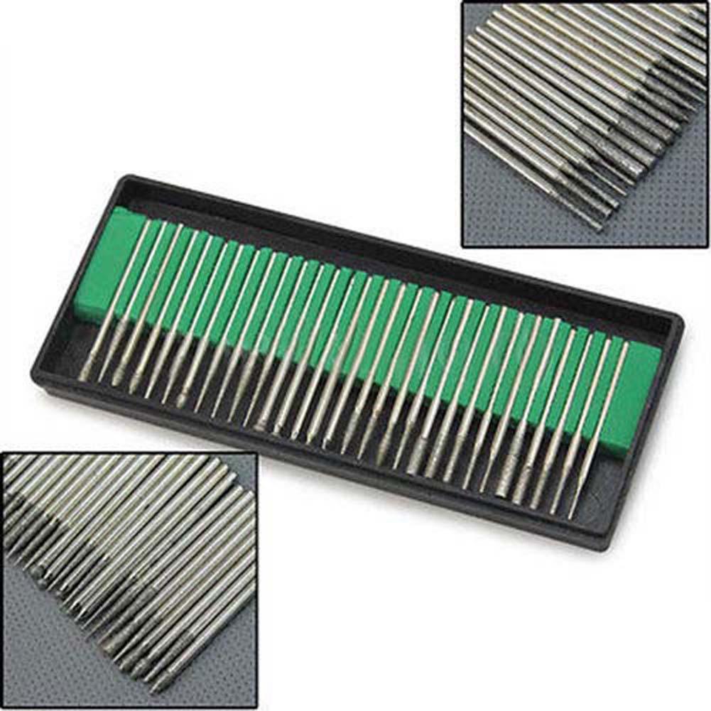 30pcs Diamond Burr Bits Drill Kit for Engraving Carving Grinding Rotary Tool Set