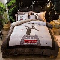 高級テキスタイル冬暖かいソリッドカラーのフランネル4ピース寝具セットフリース側クイーンキングサイズピンクグリーン布団カバーフラットシート