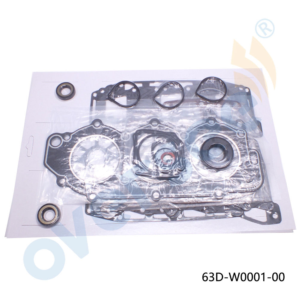 63D-W0001-00 Outboard Gasket Kit, Powerhead For Yamaha 40-50hp 3cyl 1995-UP