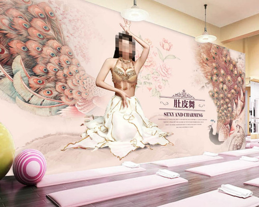 Free Shipping Belly Dance Background Wall Custom Dance Studio Yoga Room Decoration Wallpaper Mural Beauty Body Shop Wallpaper Wallpapers Aliexpress