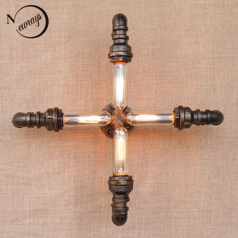 4 lights iron Water pipe vintage loft wall lamp with edison/led bulb lights for hallway/bedroom/living room/bathroom/bar/cafe