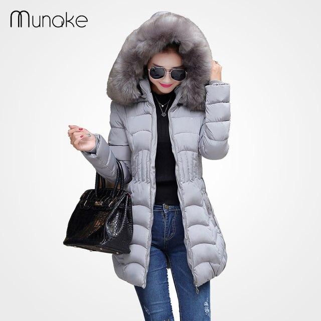 Женская зимняя куртка Пальто мода вниз parka плюс размер искусственного мех с капюшоном парки для женщин зимнее пальто толстые черные куртки молния
