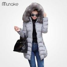 Women's winter jacket Coat fashion down parka plus size faux fur hooded parkas for women winter coat thick black jacket zipper