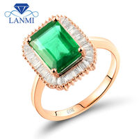 18Kt Rose Gold Natural Green Emerald Real Diamond Rings For Women Engagement Gemstone Jewelry Loving Whoeslsale Gift