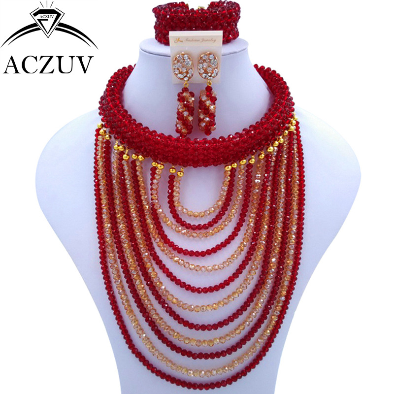 ACZUV Brand Wine Gold AB Crystal Beaded Bridal Jewelry Sets African Wedding Beads Nigerian Necklace ART001ACZUV Brand Wine Gold AB Crystal Beaded Bridal Jewelry Sets African Wedding Beads Nigerian Necklace ART001