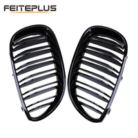 For BMW Old 5 Series E60 2004 2009 Car Front Grille Refit Dual Slat Style Hood Bumper Grills Car Styling Glossy Black