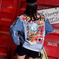 2019 Vintage Funny Print Jean Jacket Women Patchwork Long Sleeve Bomber Jackets Casual Spring Autumn Short Denim Jacket Z003