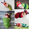 2017 Caterpillar Ladybug Danimal Cute Newbonr Baby Photo Prop Costume Knitted Beanies Hat + Sleeping Bag Skip Zoo Bag
