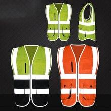 FGHGF High Visibility Reflective Safety Vest Reflective Vest Multi Pockets Workwear Safety Waistcoat Safety Clothing 6 Color