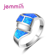 Jemmin 2017 New Fine Jewelry Fashion Rings for Women Blue Fire Opal Ring 925 Sterling Silver Ring Party Jewelry