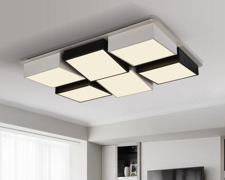 Modern office ceiling lamp Living room lamp rectangular bedroom  Ceiling Lights creative personality geometric combination ZA