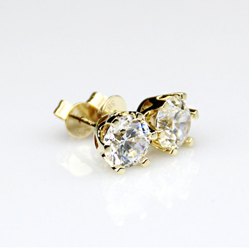 1.0 cttw Round Excellent Loose Moissanite Earrings 14K Yellow Gold Stud Earrings For Women Moissanite Jewelry pair of stylish round alloy stud earrings for women