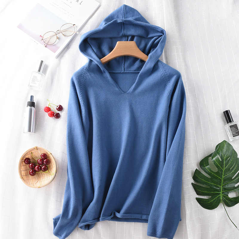 2019 Autumn Winter Casual Knitted Hooded Cashmere Sweater Pullovers Fashion Loose Long Sleeve Women Wool Pullover