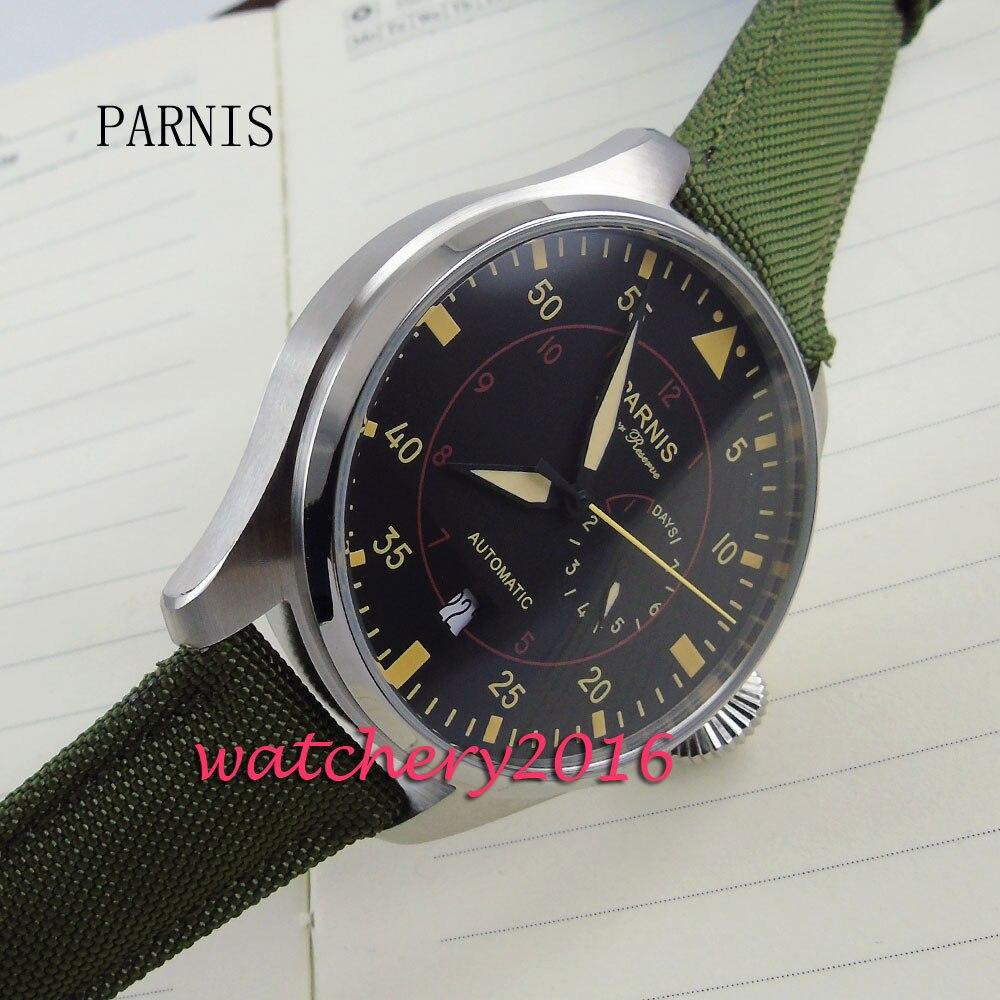 47mm parnis cadran noir bracelet en cuir vert montres pour hommes top marque de luxe automatique mécanique automatique montre pour hommes