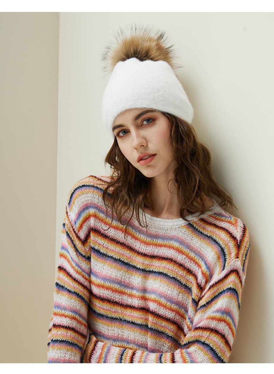 Hat Female Raccoon Hair Ball Beanies Winter Warm Wool Bonnet Pompom Beanies 2018 Fashion Russia Knitted Skullies Cap For Girls (13)