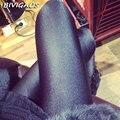 2016 Novo Inverno Leggings Quentes Calças De Veludo De Alta Elástica Skinny Slim Leggings Pretas Grossas Macio Brilhante Leggings Pants Para As Mulheres
