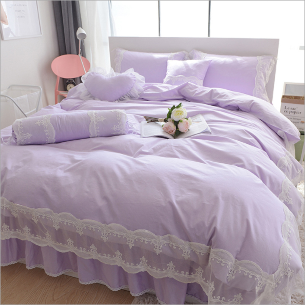 Green and blue and purple bedding - Korean Princess Style Lace Lace Solid Color Design Duvet Cover Bed Sheet Set 100 Cotton