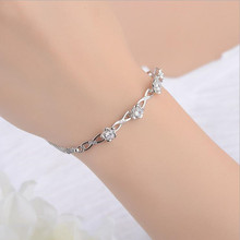 LUKENI Charm Crystal Flower Women Bracelets Accessories Top Quality 925 Sterling Silver Anklets For Girl Lady Party Jewelry Gift