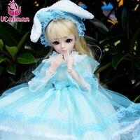 UCanaan Kawaii Girls BJD Doll 60CM Ball Jonited SD Dolls With Outfit Elegant Dress Shoes Wig Girl DIY Makeup Toys