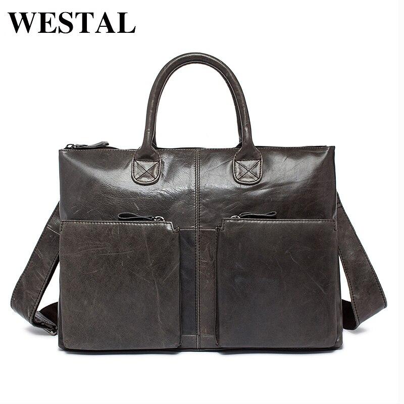 4e788dee1581 WESTAL простая деловая сумка мужская портфель мужской натуральная кожа  через плечо кожаная сумка для ноутбука сумки