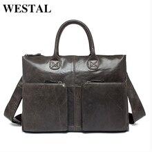 WESTAL Genuine Leather Bag Business Handbags Cowhide Men Crossbody Bags Men's Travel Bags Tote Laptop Briefcases Men's Bag L502