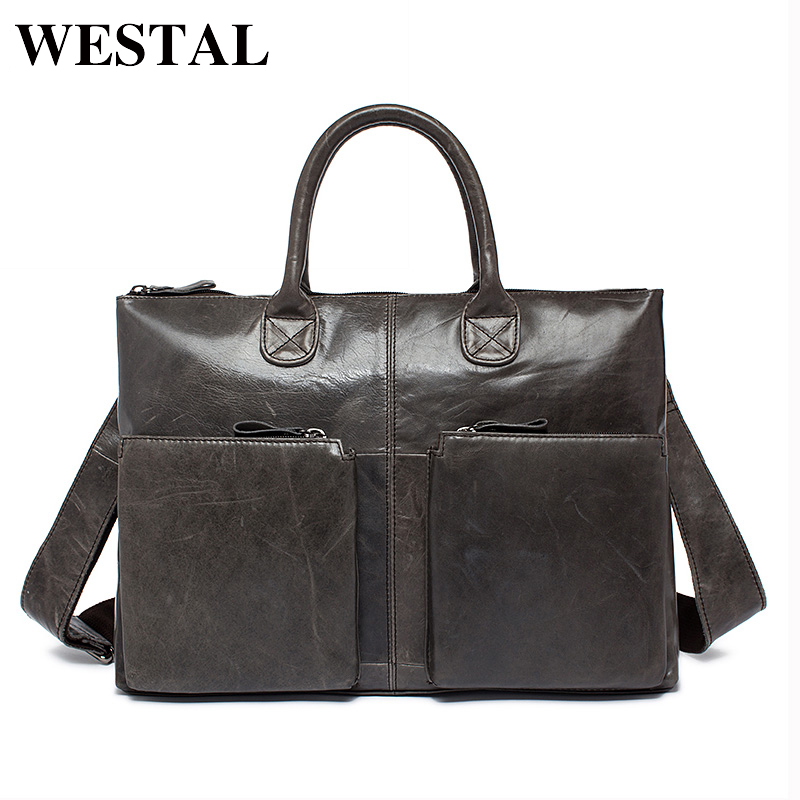 WESTAL 本革ビジネスバッグ牛革男性クロスボディバッグ男性の旅行バッグトートラップトップブリーフケースメンズバッグ l502  グループ上の スーツケース & バッグ からの トップハンドルバッグ の中 1
