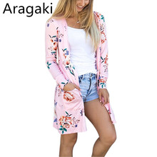 Aragaki Women cardigan coats 2018 fashion long sleeve outerwear printed casual coat plus size LN019