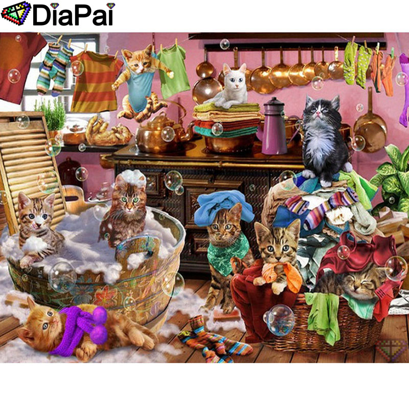 "DIAPAI 5D DIY Diamond Painting 100% Full Square/Round Drill ""Animal cat"" Diamond Embroidery Cross Stitch 3D Decor A22856(China)"