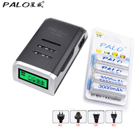 PALO C905W Smart Intelligent LCD Display Battery Charger For AA / AAA NiCd NiMh Rechargeable Batteries+4pcs AA 3000mah Batteries