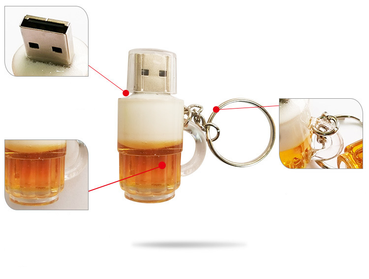 Usb Flash Drive 64gb Mini Beer Mug Model Pen Drive Keychain Flash Memory Card U Disk 4gb 8gb 16gb 32gb Pendrive 128g Thumbdrives