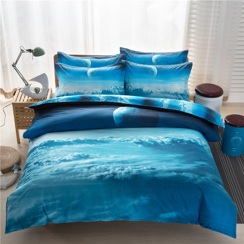 Galaxy 3D Bedding Sets 4/3pcs blue Star sea of clouds Space Bed Sheet Quilt cover/ Duvet cover pillowcase