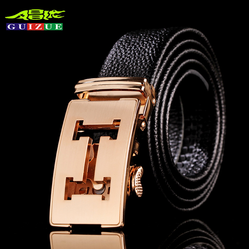 designer h belt u1iw  GUIZUE Brand Mens Genuine Leather Belts For Men Letter H Gold Buckle Belt  Luxury Designer High