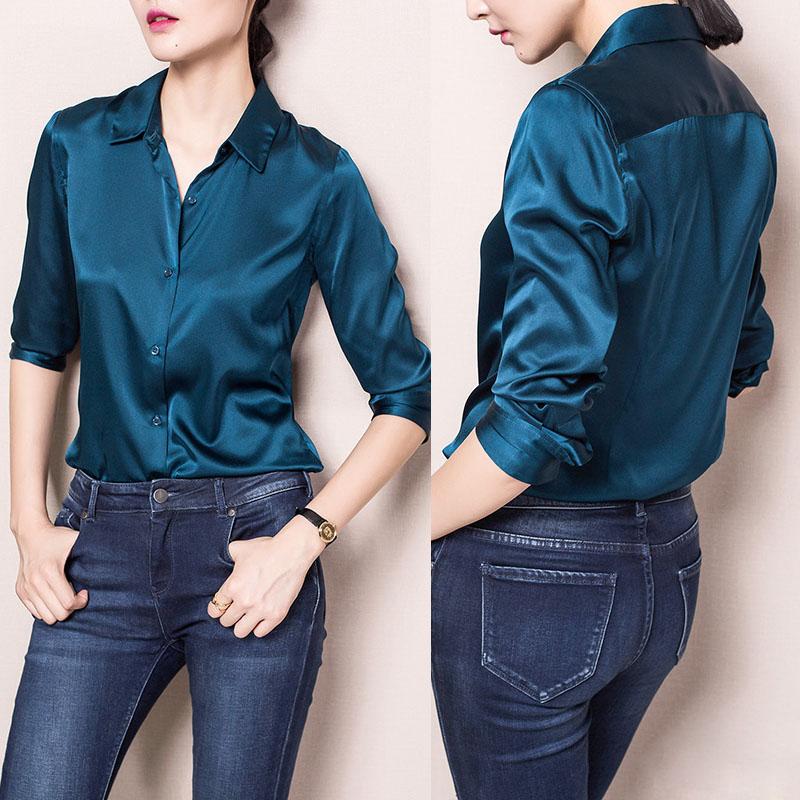 2c44a1774eb5 S-XXXl Fashion Red White Black satin silk blouse ladies casual long sleeve  button Turndown Collar real silk satin blouses