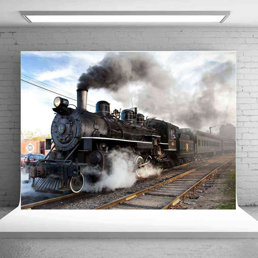 LFEEY 7x5ft Countryside Vintage Steam Train Backdrop for Photography Travel Portrait Photo Booth Old Rusty Transportation Locomotive Photographic Studio Photo Background