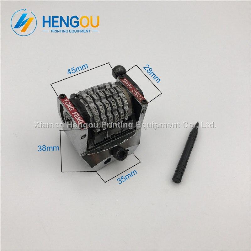 1 Stück Gto46 Gto52 6 Ziffern Nummerierung Maschine Vertikale Rückwärts Jump Modus 09876... Größe: 45x28x38mm
