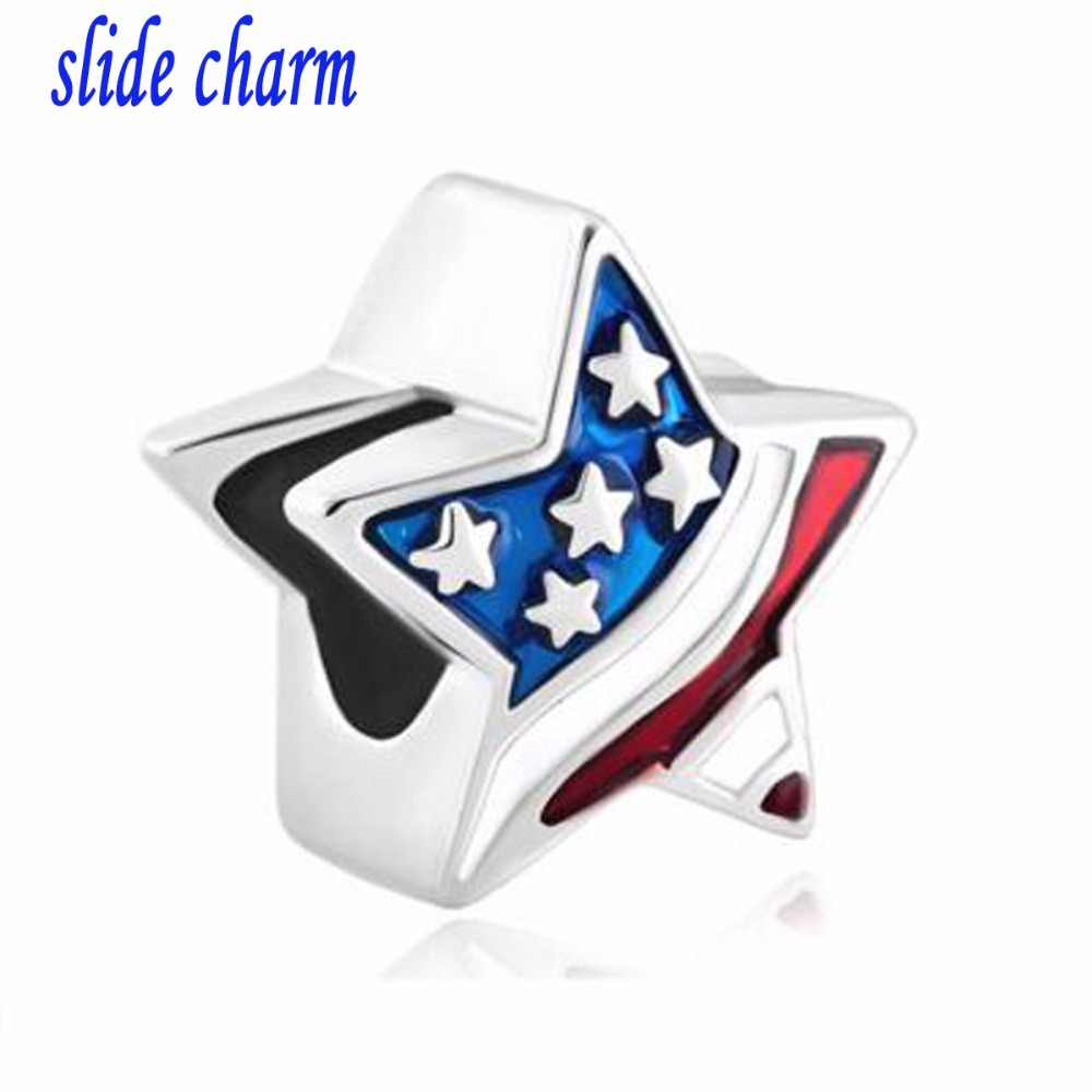be989ed2c slide charm Free shipping New European style fashion American flag  five-pointed star charm beads
