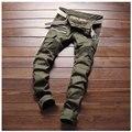 Verde del ejército Con Cremallera Pantalones de Diseñador Hombres Motorista del Remiendo Delgado Flaco Lápiz Pantalones Vaqueros de La Nueva Manera Doble Bolsillos Laterales 28-38