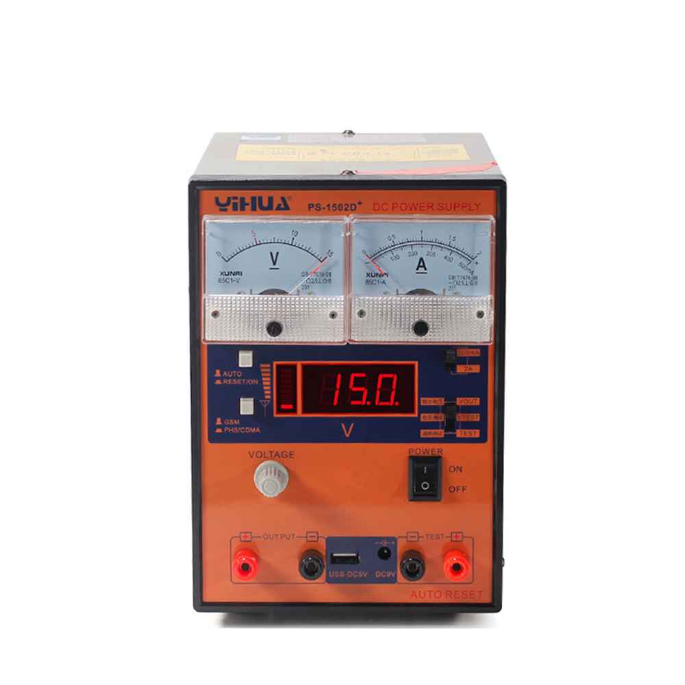 YIHUA <font><b>1502D</b></font>+ 15V 2A Adjustable DC Power Supply Mobile Phone Repair Test Regulated LCD Voltage Current Display Adjust image