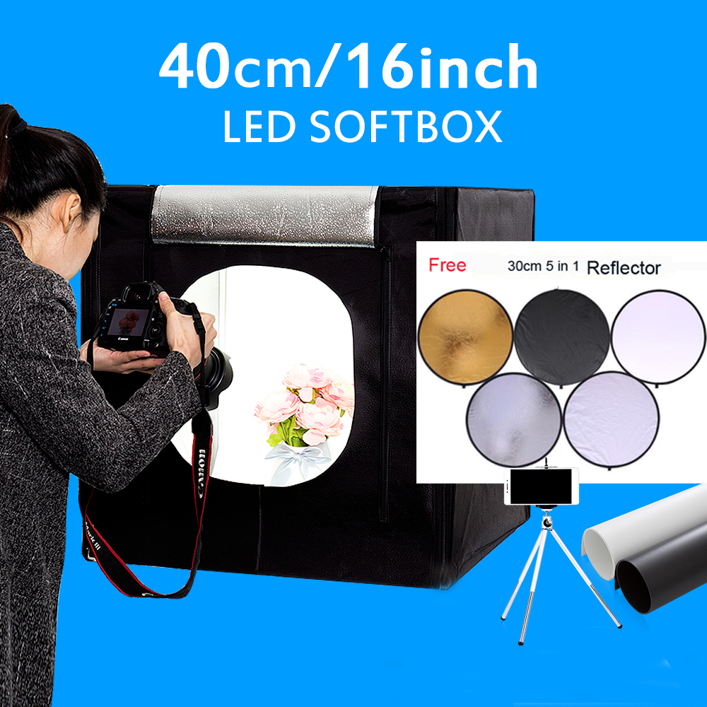 40*40*40CM Mini LED Photo Studio Softbox Shooting Light Tent Soft Box Kit Photography Lightbox Kit For Jewelry Sunglasses Toys 32x32 inch 80cm x80 cm photo studio shooting tent light cube diffusion soft box kit with 4 colors backdrops for photography