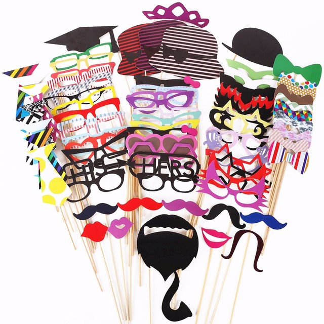 76PCS Photo Booth Props Wedding Party Decorations Photobooth Hat Mustache Baby Shower Birth