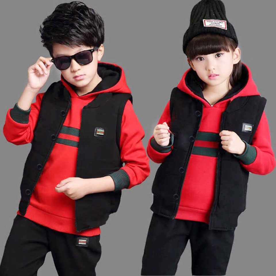 Children Spring Fall Striped Tracksuit Clothing Boys Girls Long Sleeve Hooded Sport Suit Kids Sportswear Clothes Sets 3-12 Years fall new korean girls scout s striped