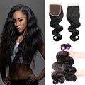 Rosa Hair Products 8A Brazilian Virgin human Hair Weave Bundles With Closure Brazilian Body Wave Lace Closure With Hair Bundles