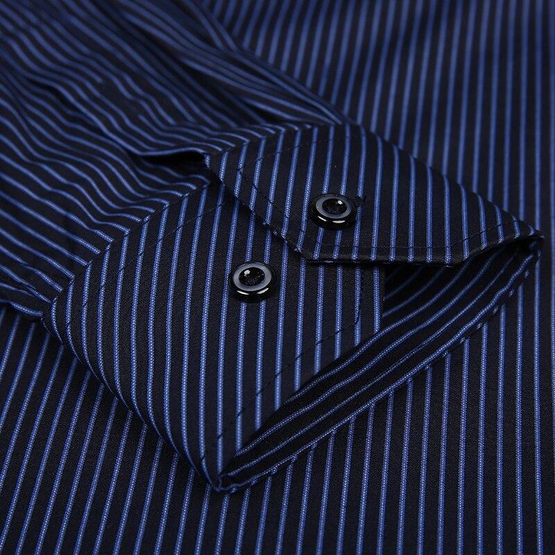 2020 Men Shirt Mens Business Casual Long Sleeved Slim Fit Shirts Men Striped Dress Work Social Dress Shirt Brand Clothes DS022 5
