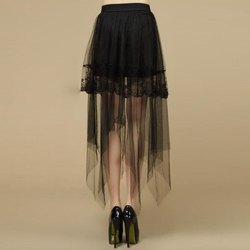 Gothic Mesh Lace Skirt Asymmetrical Women Elastic Waist Pleated Solid
