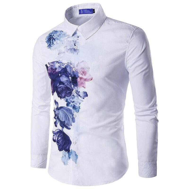 Brand Print Men Shirt Long sleeve Shirt Slim Fit Casual Shirts Fashion Men s Clothing Casual