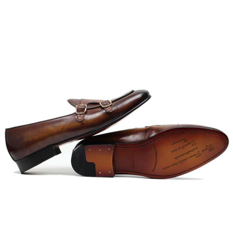 FELIX CHU ฤดูใบไม้ร่วงสไตล์ผู้ชายสีดำสีน้ำตาลหนังแท้มือทาสี Monk Strap ผู้ชายชุดรองเท้า party-ใน รองเท้าทางการ จาก รองเท้า บน   3