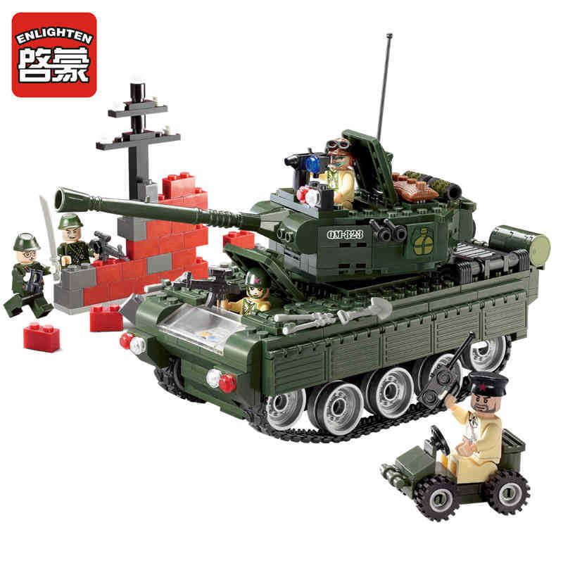 Enlighten 466pcs Military Tank Figure Blocks Educational Construction Building Brick Toys For Children Compatible enlighten building blocks military submarine model building blocks 382 pcs diy bricks educational playmobil toys for children