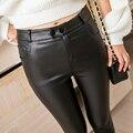 Outono e inverno fino fosco PU calças de couro falso revestimento matagal das mulheres de cintura alta calças compridas legging