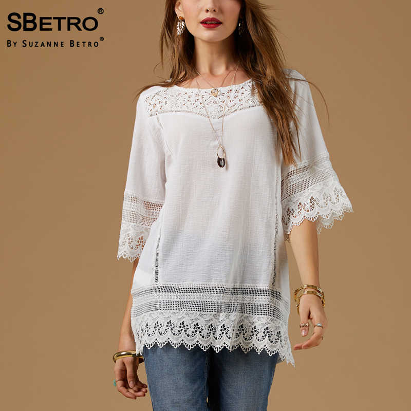 77dbabf0b31 SBetro By Suzanne Betro Cotton Lace Blouses Female White Gauze 3/4 Long  Sleeve Casual