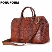 Men's Genuine Leather Bag Brand NEW Arrival Travel Bag Big Luggage Duffle Bags Men Crocodile Leather Travels Large Tote LI 1546